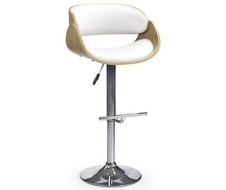 Moderní barová židle v kombinaci chromu, ohýbané překližky a koženky
