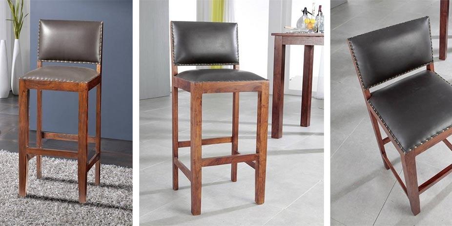 Koloniální barová židle, pravá kůže