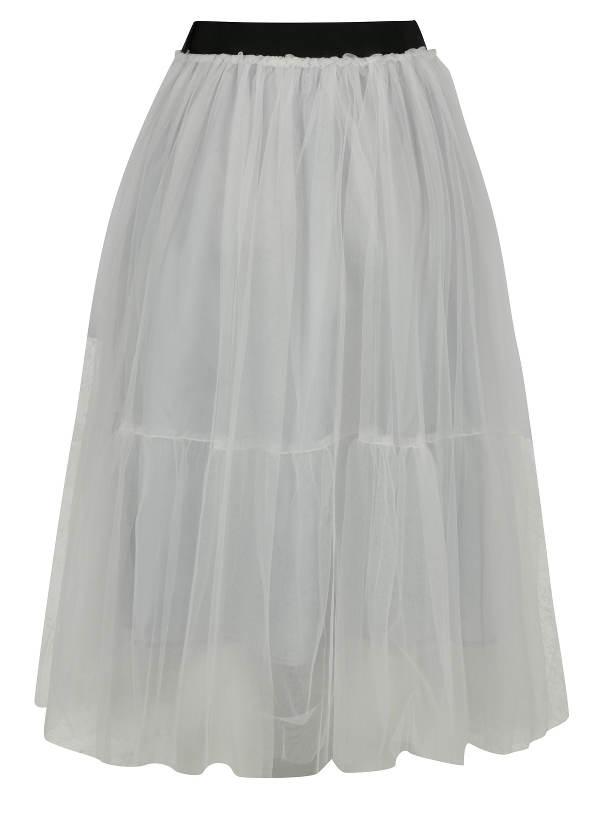 Krémová francouzská tylová midi sukně