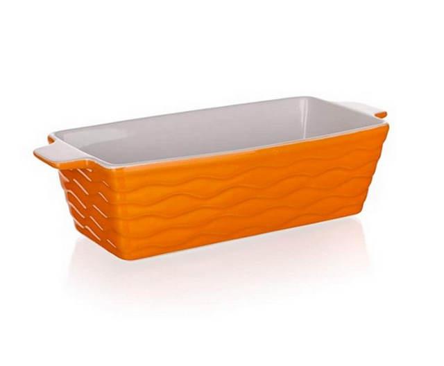 Vysoká oranžová keramická zapékací mísa