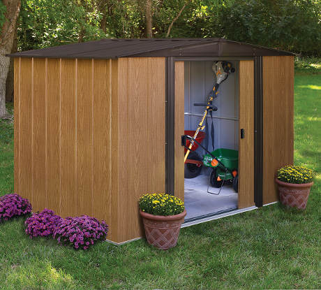Zahradní plechový domek s imitací dřeva