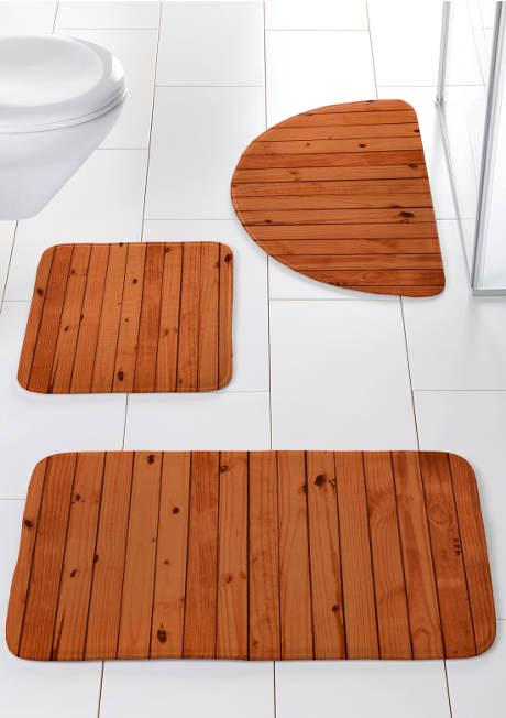 Koupelnové předložky z memory pěny - fotopotisk dřevo