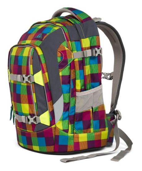 Pestrobarevný karovaný studentský batoh Ergobag