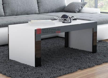 Bílý konferenční stolek s lesklými lištami