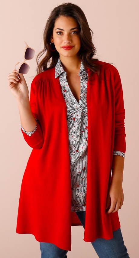 Dlouhý červený dámský svetr