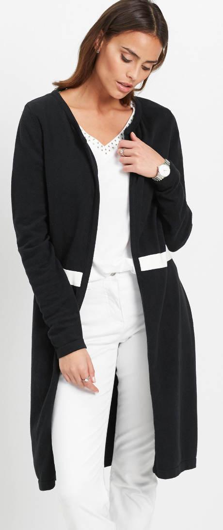 Dlouhý černý pletený kabátek