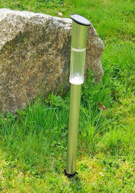 Zahradní solární LED lampa z nerezové oceli