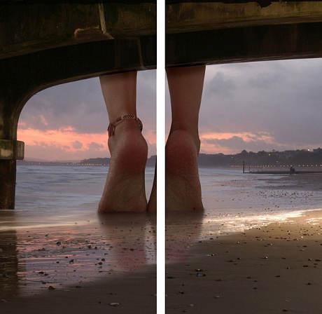 Dvoudílný obraz Nohy na pláži