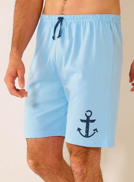 Pyžamové námořnické šortky s kotvou