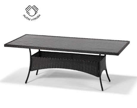 Stůl FLORENCE z černého umělého ratanu