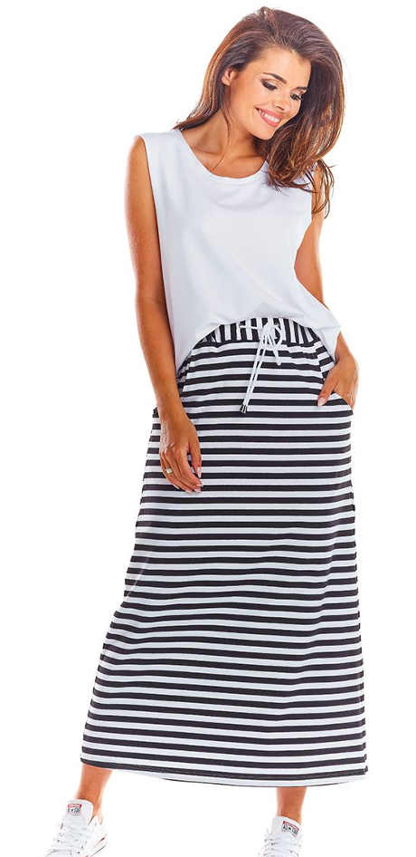Černo-bílá pruhovaná dlouhá sukně M211