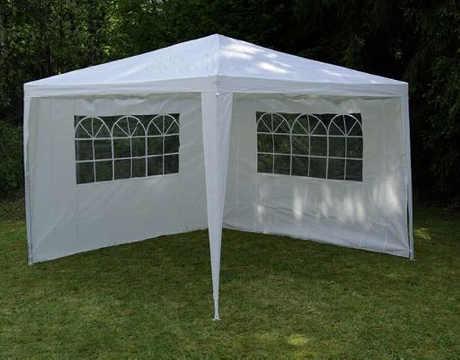 Levný bílý zahradní párty stan 3 x 3 m + 2 boční stěny