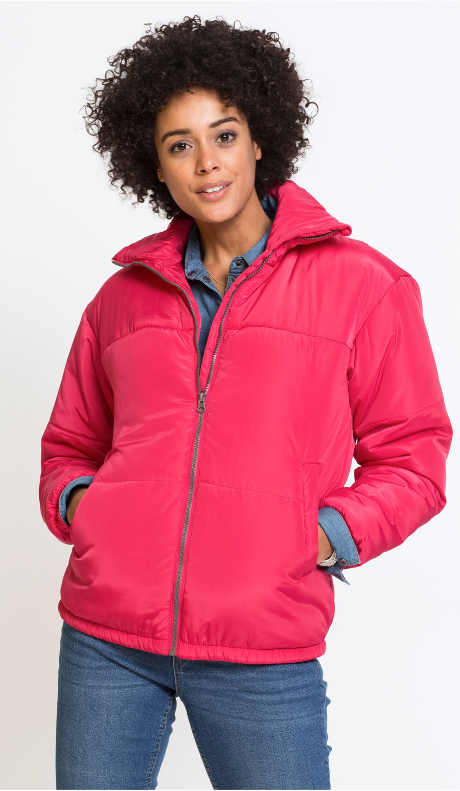 Levná růžová dámská zimní bunda Bonprix