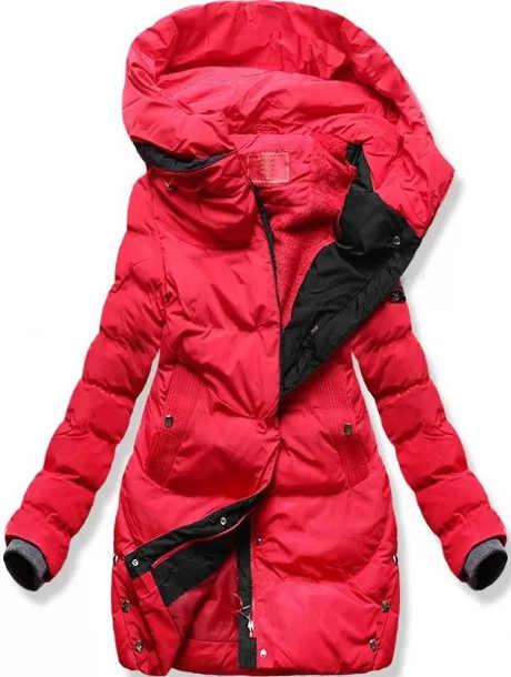 Červený prošívaný dámský zimní kabát Cassandra