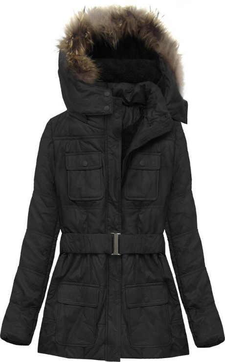 Teplá černá zimní bunda z eko kůže