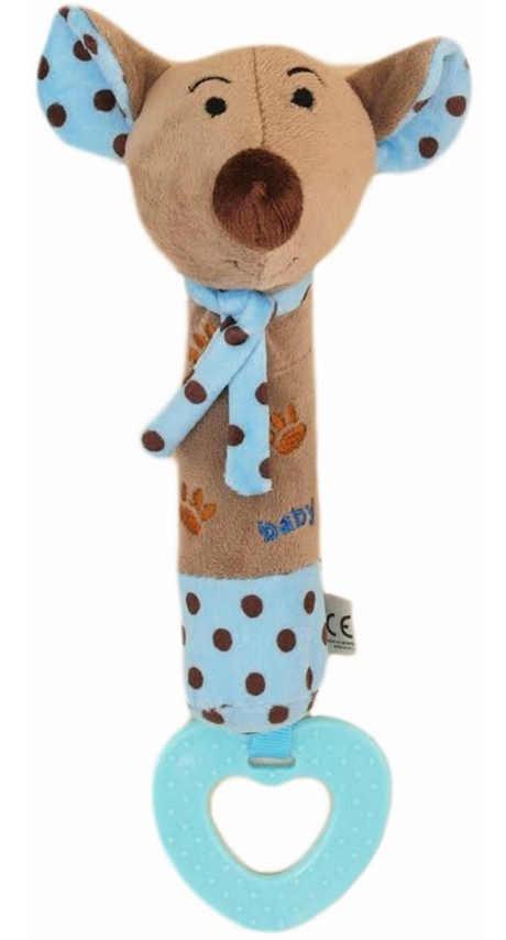 Dětská pískací plyšová hračka s kousátkem Baby Mix myška