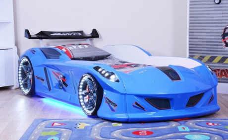 Modrá dětská postel ve tvaru auta s LED světly a zvuky
