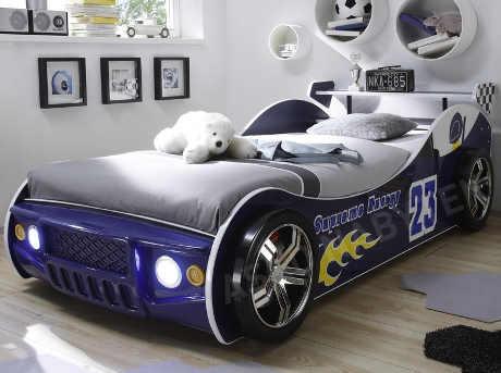 Dětská postel závodní auto s osvětlením 90x200 cm