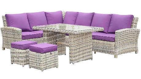 Rohová sedačka umělý ratan se stolem a 2 taburetky