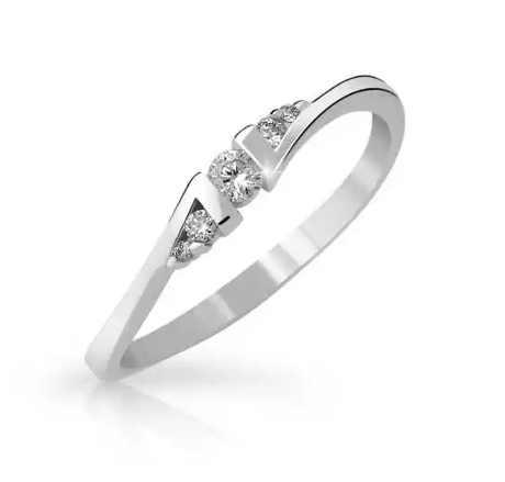 Zlatý zásnubní prsten - bílé zlato s briliantem