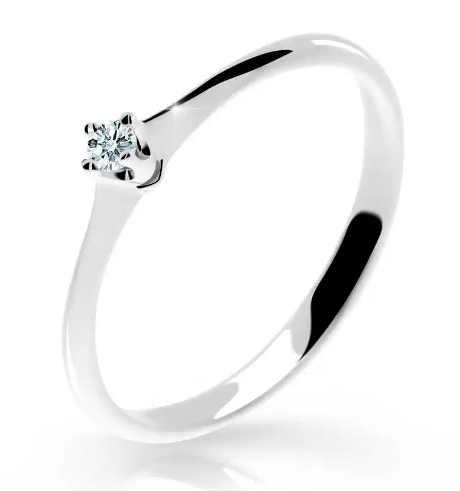 Levný zásnubní prsten z bílého zlata s briliantem