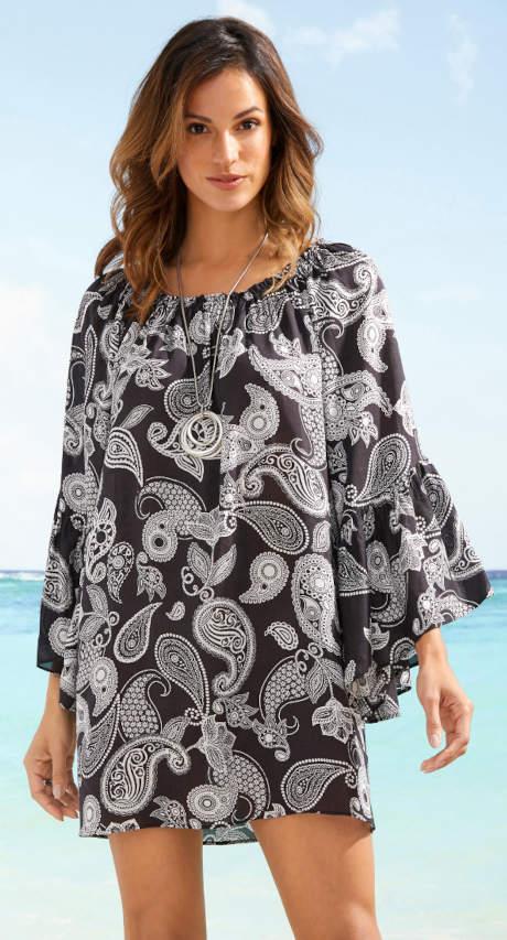 Černobílá plážová tunika
