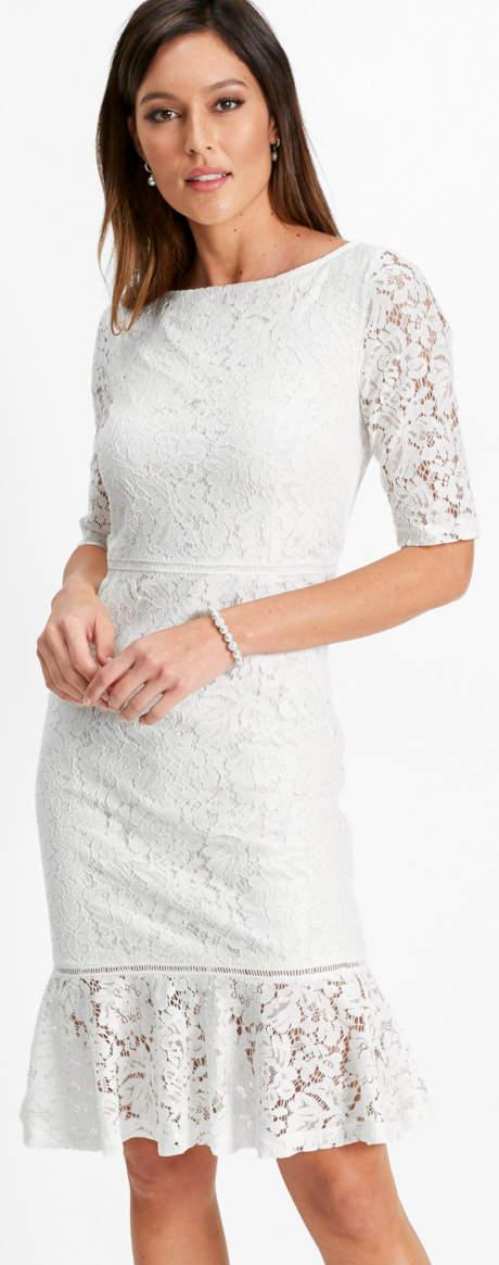 Krajkové šaty Bonprix s volánovým okrajem
